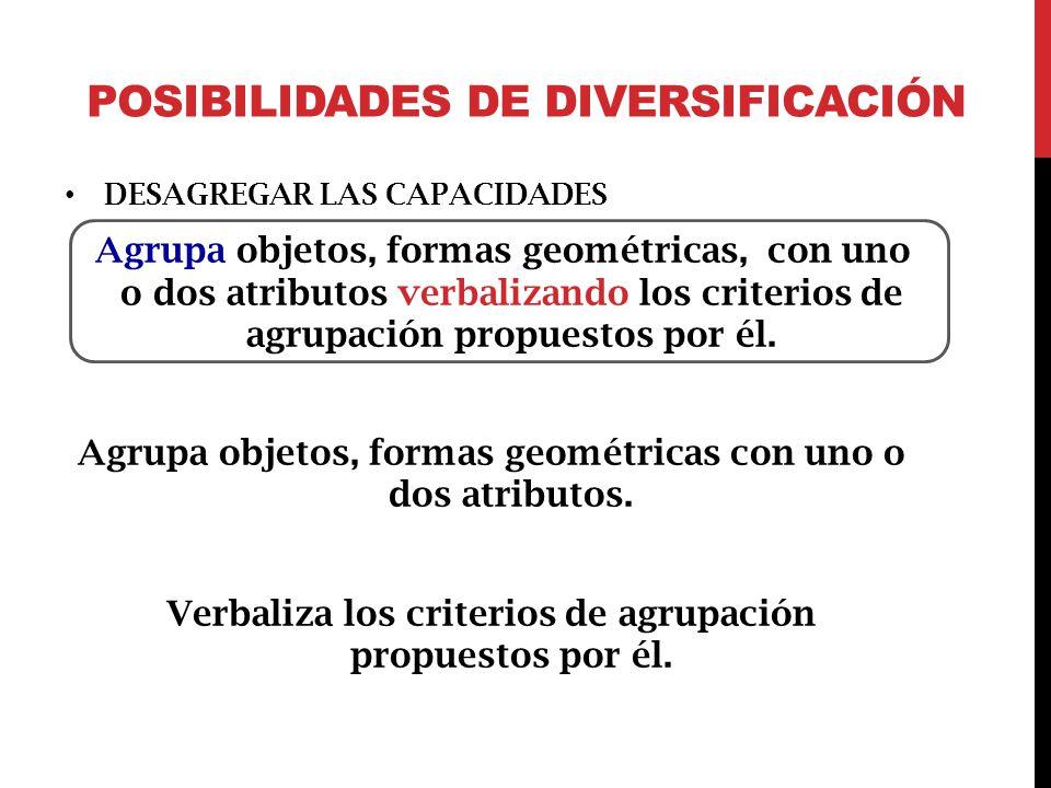 POSIBILIDADES DE DIVERSIFICACIÓN DESAGREGAR LAS CAPACIDADES Agrupa objetos, formas geométricas, con uno o dos atributos verbalizando los criterios de agrupación propuestos por él.