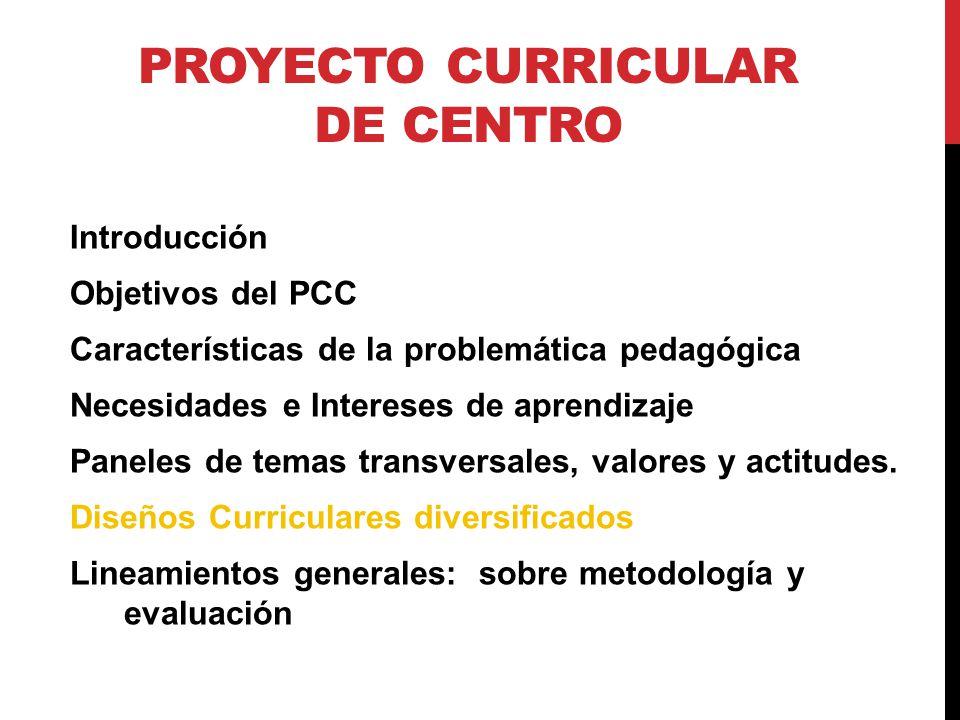 PROYECTO CURRICULAR DE CENTRO Introducción Objetivos del PCC Características de la problemática pedagógica Necesidades e Intereses de aprendizaje Paneles de temas transversales, valores y actitudes.