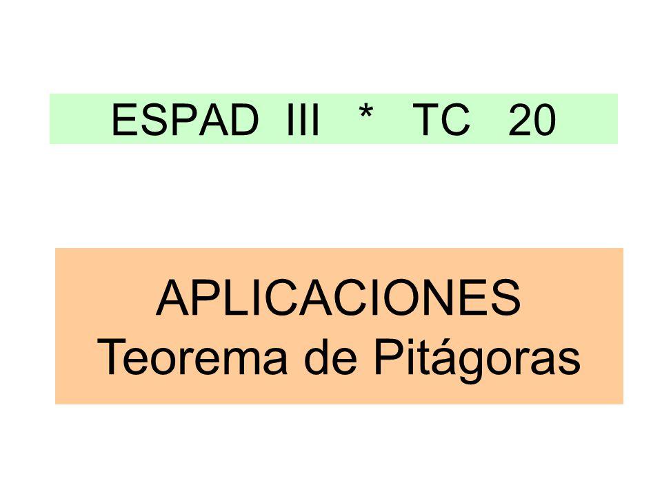 ESPAD III * TC 20 APLICACIONES Teorema de Pitágoras