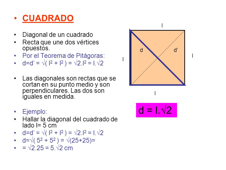 CUADRADO Diagonal de un cuadrado Recta que une dos vértices opuestos. Por el Teorema de Pitágoras: d=d' = √( l 2 + l 2 ) = √2.l 2 = l.√2 Las diagonale