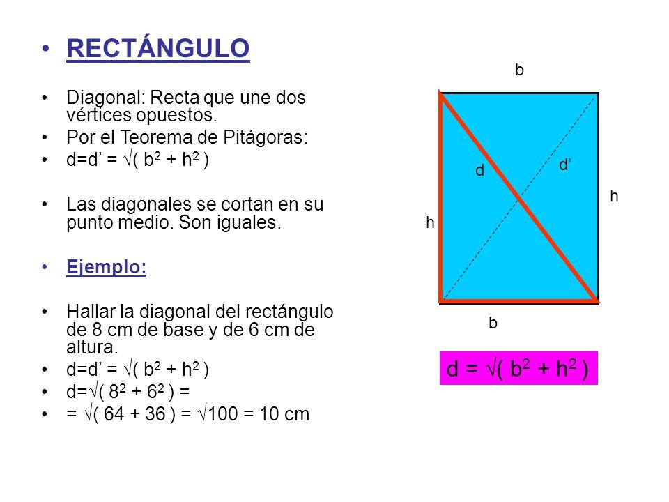 b h RECTÁNGULO Diagonal: Recta que une dos vértices opuestos. Por el Teorema de Pitágoras: d=d' = √( b 2 + h 2 ) Las diagonales se cortan en su punto
