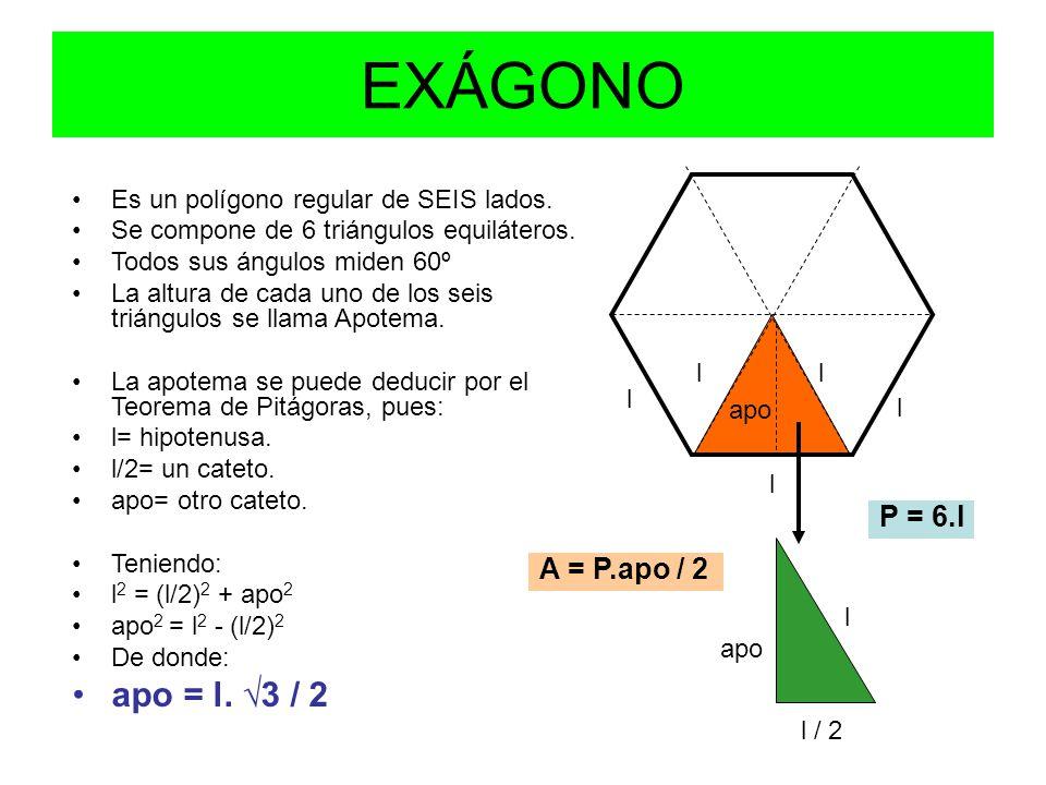 Ejemplo_1 Hallar la apotema de un hexágono regular cuyo lado mide 6 cm Como en un hexágono se cumple que l 2 = (l/2) 2 + apo 2 Sustituyendo los valores conocidos: 6 2 = 3 2 + apo 2 Despejando: apo 2 = 6 2 - 3 2  apo 2 = 36 – 9 = 27  apo = √27 = 5,20 Ejemplo_2 Hallar el lado del hexágono regular cuya apotema mide 4 cm.