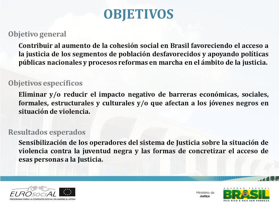 OBJETIVOS Objetivo general Contribuir al aumento de la cohesión social en Brasil favoreciendo el acceso a la justicia de los segmentos de población desfavorecidos y apoyando políticas públicas nacionales y procesos reformas en marcha en el ámbito de la justicia.