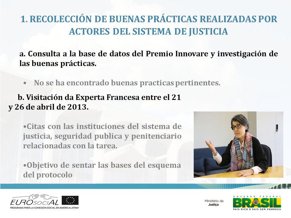 1. RECOLECCIÓN DE BUENAS PRÁCTICAS REALIZADAS POR ACTORES DEL SISTEMA DE JUSTICIA a.