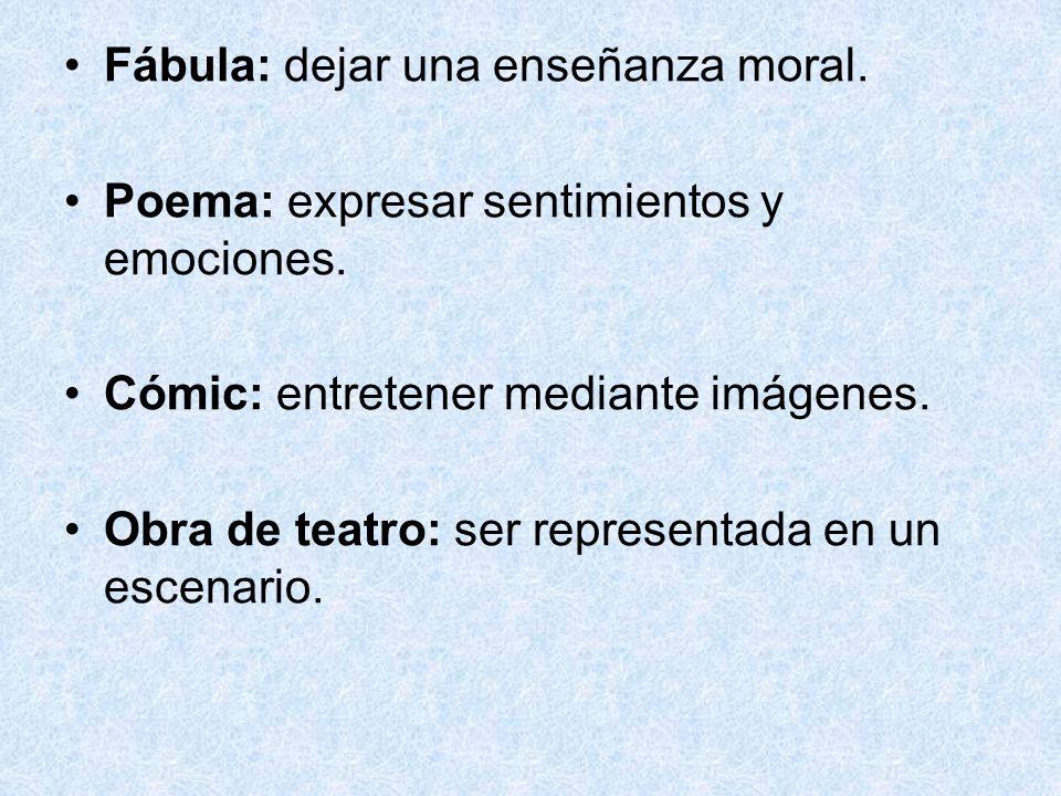 Fábula: dejar una enseñanza moral. Poema: expresar sentimientos y emociones.