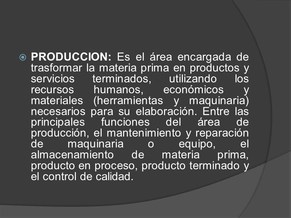 Funciones: 1-Ingeniería de producto a) Diseño del producto b) Pruebas de Ingenieria c) Asistencia a mercadotecnia 2-Ingeniería de planta 3-Ingeniería industrial 4-Planeación y control de la producción 5-Abastecimientos 6-Fabricación 7-Control de calidad