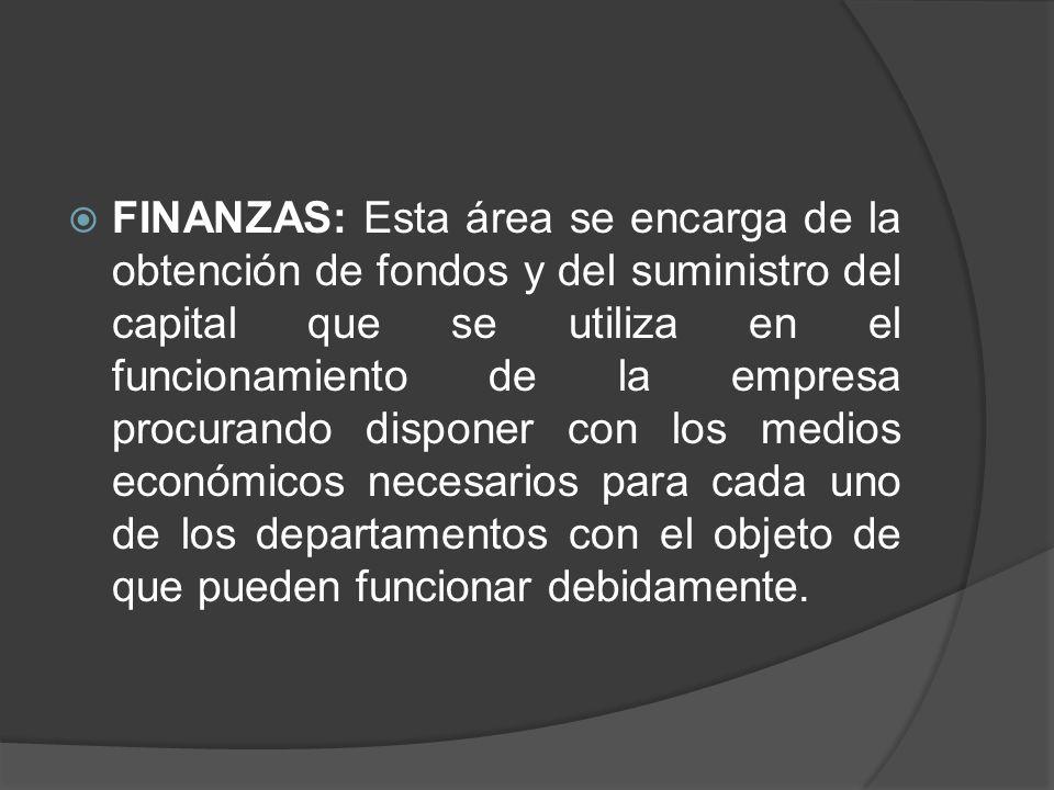 Funciones: 1-Financiamiento 2-Contraloría 3-Crédito y Cobranza 4-Impuestos