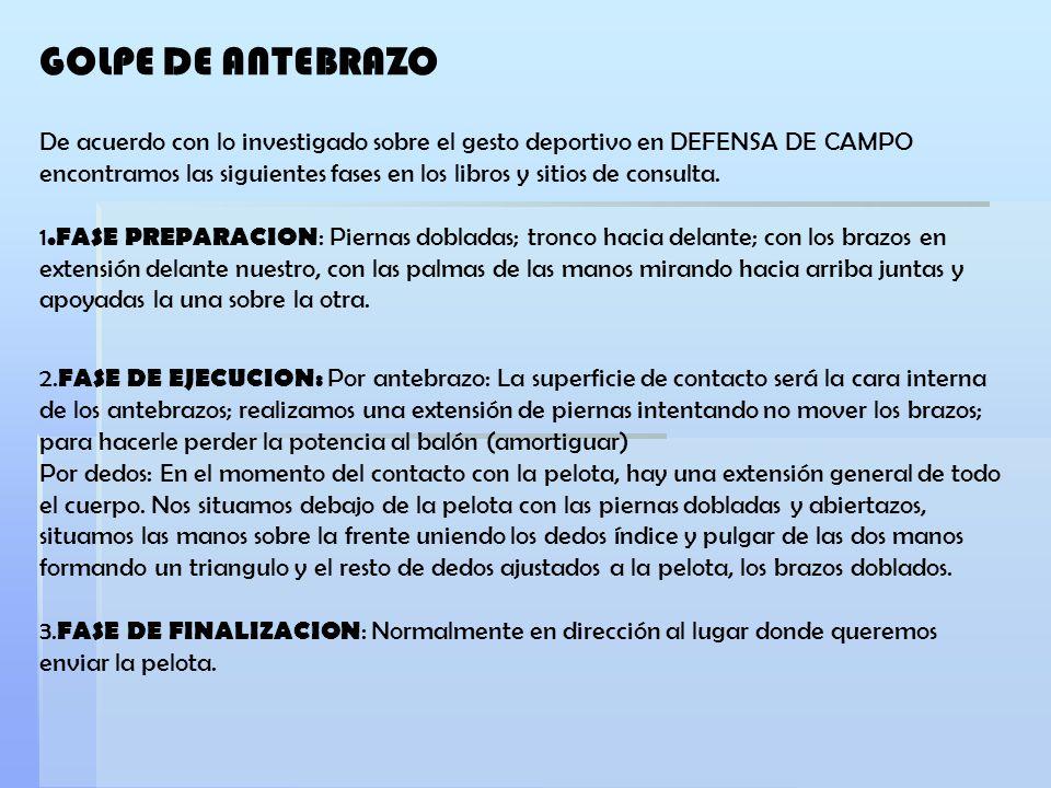 De acuerdo con lo investigado sobre el gesto deportivo en DEFENSA DE CAMPO encontramos las siguientes fases en los libros y sitios de consulta. 1.FASE
