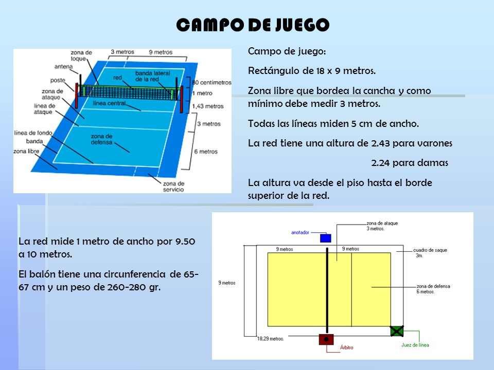 CAMPO DE JUEGO Campo de juego: Rectángulo de 18 x 9 metros. Zona libre que bordea la cancha y como mínimo debe medir 3 metros. Todas las líneas miden
