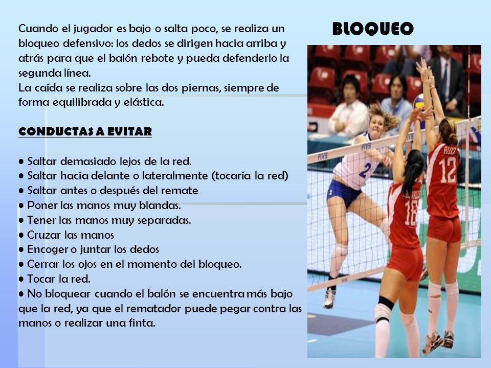 Cuando el jugador es bajo o salta poco, se realiza un bloqueo defensivo: los dedos se dirigen hacia arriba y atrás para que el balón rebote y pueda de