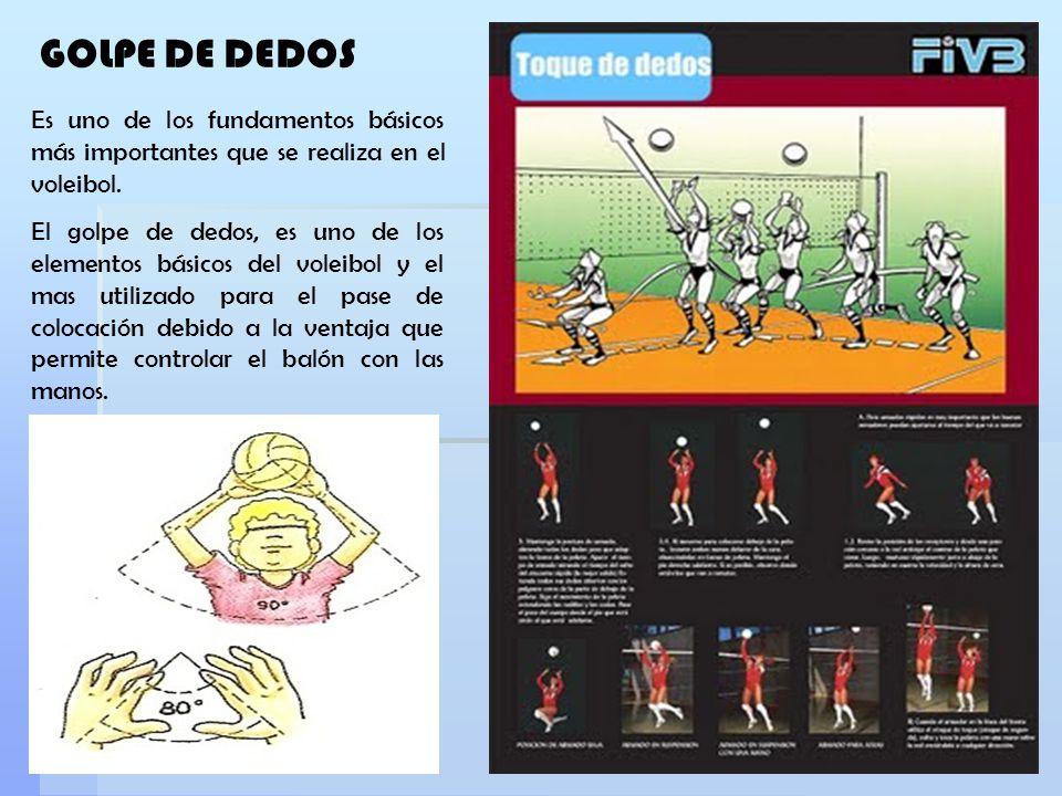 GOLPE DE DEDOS Es uno de los fundamentos básicos más importantes que se realiza en el voleibol. El golpe de dedos, es uno de los elementos básicos del