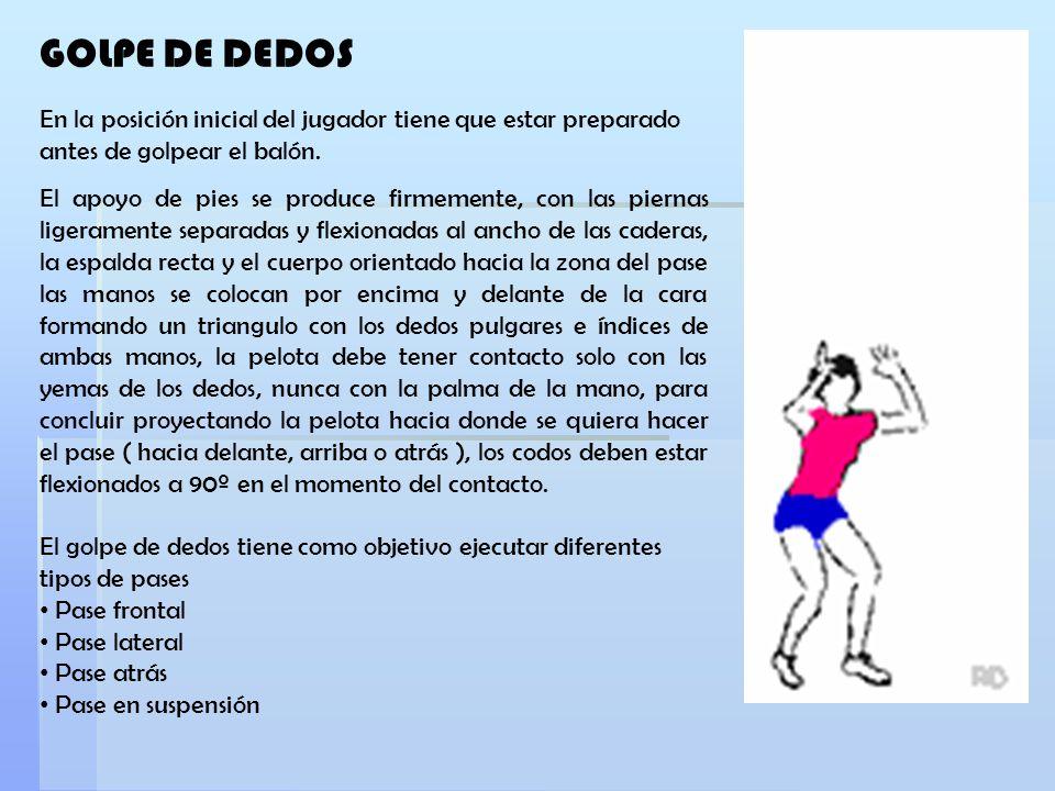 En la posición inicial del jugador tiene que estar preparado antes de golpear el balón. El apoyo de pies se produce firmemente, con las piernas ligera
