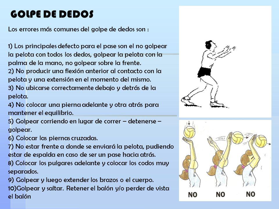 Los errores más comunes del golpe de dedos son : 1) Los principales defecto para el pase son el no golpear la pelota con todos los dedos, golpear la p
