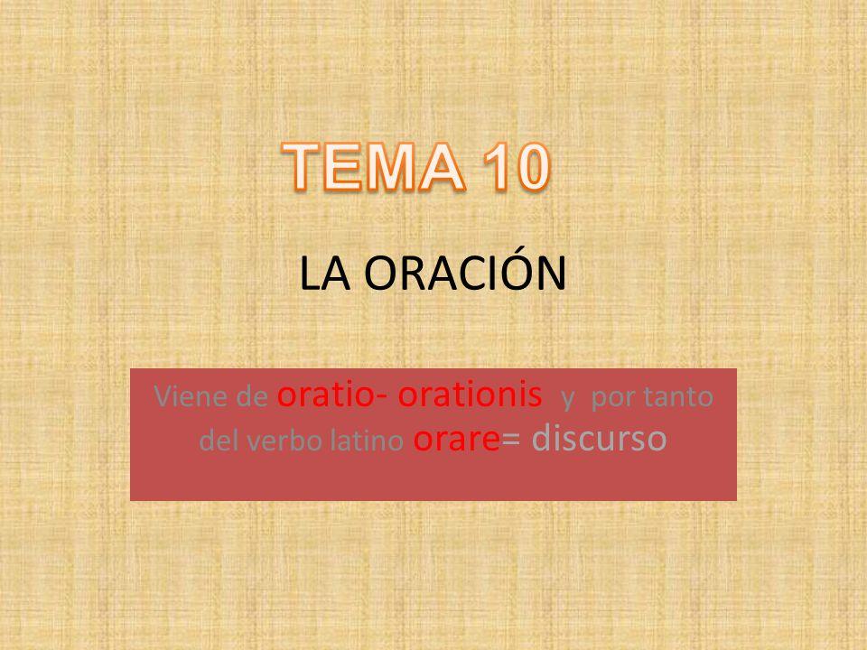 LA ORACIÓN Viene de oratio- orationis y por tanto del verbo latino orare= discurso