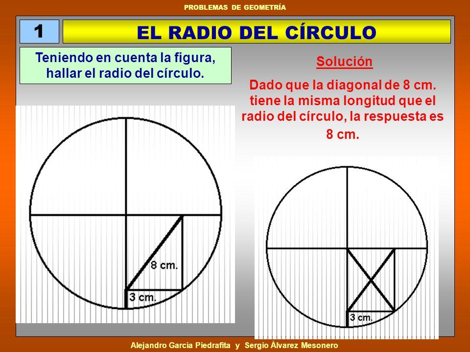 Alejandro García Piedrafita y Sergio Álvarez Mesonero PROBLEMAS DE GEOMETRÍA Basta con darse cuenta de que el lado AC es el radio de la circunferencia y AE y BD son diagonales de un rectángulo.