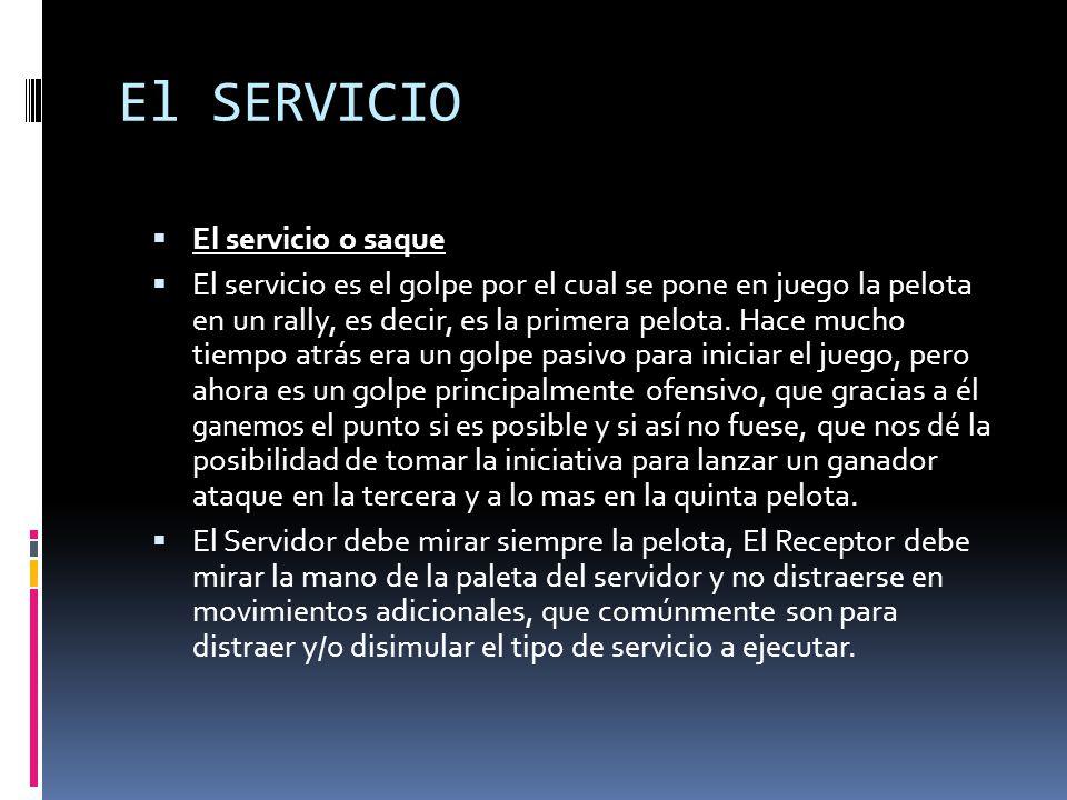 El SERVICIO  El servicio o saque  El servicio es el golpe por el cual se pone en juego la pelota en un rally, es decir, es la primera pelota.