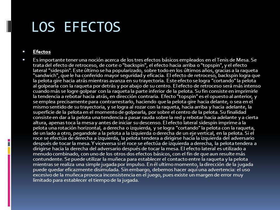 LOS EFECTOS  Efectos  Es importante tener una noción acerca de los tres efectos básicos empleados en el Tenis de Mesa.