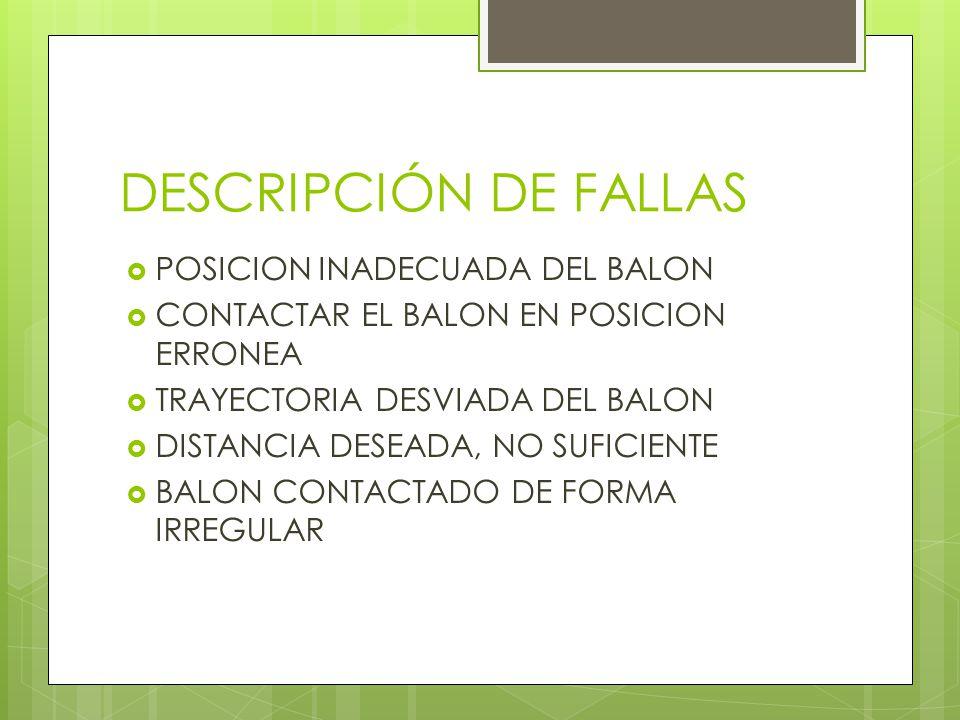 DESCRIPCIÓN DE FALLAS  POSICION INADECUADA DEL BALON  CONTACTAR EL BALON EN POSICION ERRONEA  TRAYECTORIA DESVIADA DEL BALON  DISTANCIA DESEADA, NO SUFICIENTE  BALON CONTACTADO DE FORMA IRREGULAR