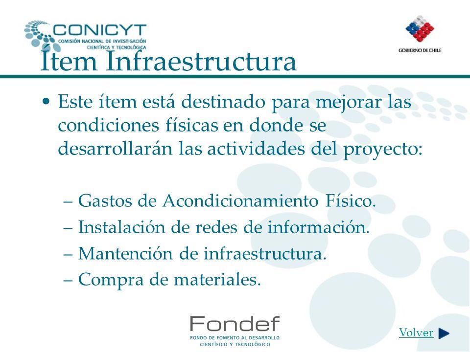 Ítem Infraestructura Este ítem está destinado para mejorar las condiciones físicas en donde se desarrollarán las actividades del proyecto: –Gastos de Acondicionamiento Físico.