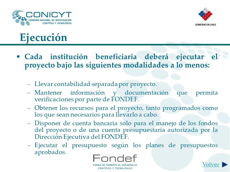 Ejecución Cada institución beneficiaria deberá ejecutar el proyecto bajo las siguientes modalidades a lo menos: –Llevar contabilidad separada por proyecto.