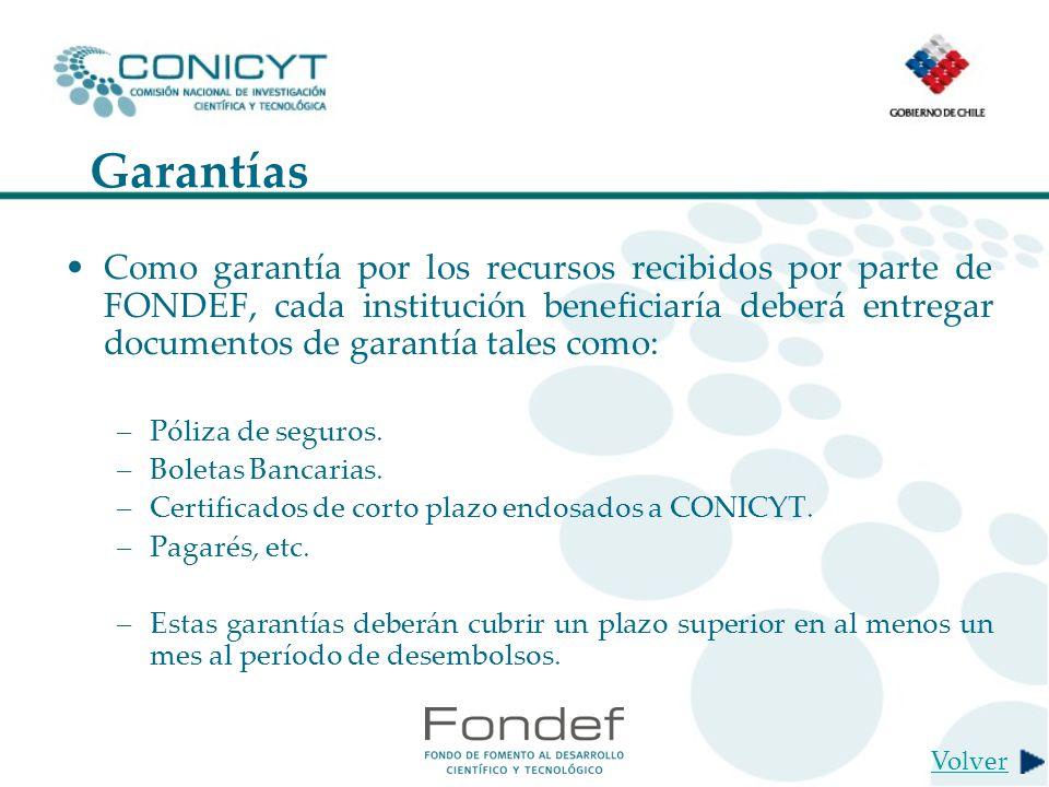 Garantías Como garantía por los recursos recibidos por parte de FONDEF, cada institución beneficiaría deberá entregar documentos de garantía tales como: –Póliza de seguros.
