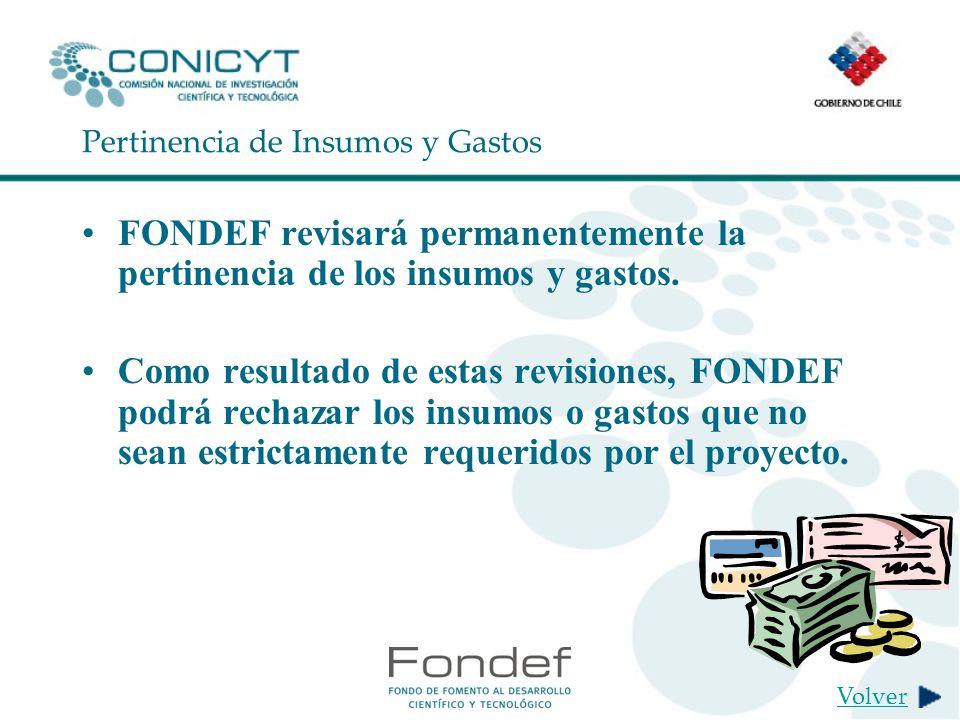 Pertinencia de Insumos y Gastos FONDEF revisará permanentemente la pertinencia de los insumos y gastos.