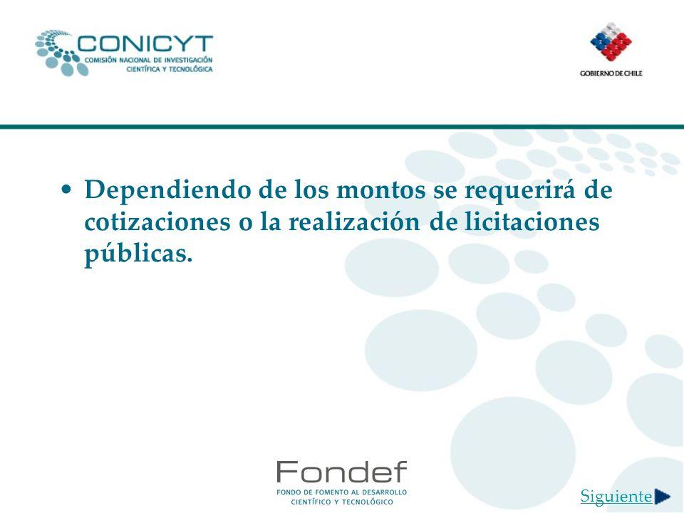 Dependiendo de los montos se requerirá de cotizaciones o la realización de licitaciones públicas.