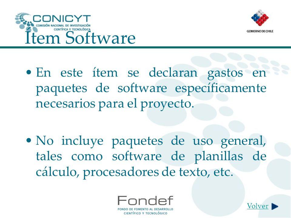 Ítem Software En este ítem se declaran gastos en paquetes de software específicamente necesarios para el proyecto.
