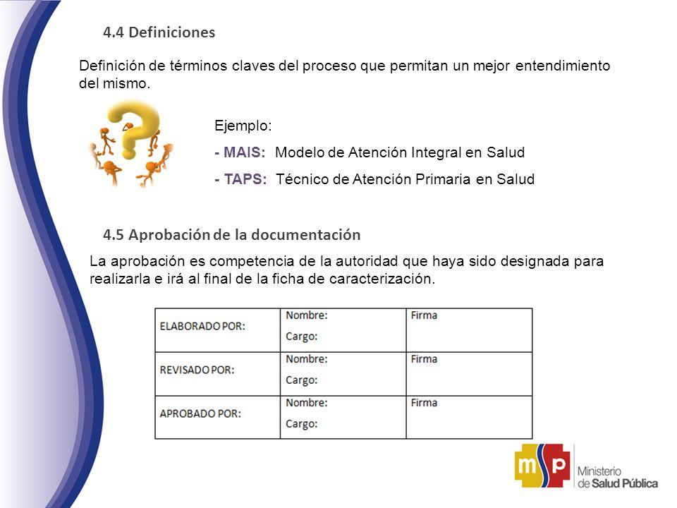 4.4 Definiciones Definición de términos claves del proceso que permitan un mejor entendimiento del mismo. Ejemplo: - MAIS: Modelo de Atención Integral