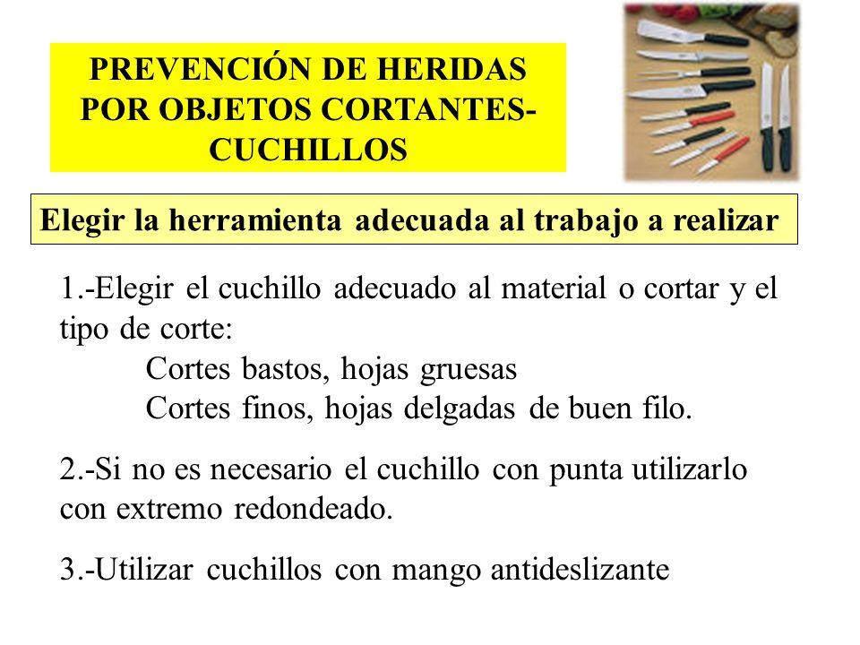 PREVENCIÓN DE HERIDAS POR OBJETOS CORTANTES- CUCHILLOS 1.-Elegir el cuchillo adecuado al material o cortar y el tipo de corte: Cortes bastos, hojas gr