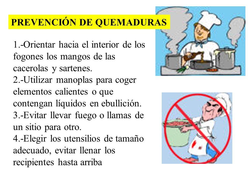 PREVENCIÓN DE QUEMADURAS 1.-Orientar hacia el interior de los fogones los mangos de las cacerolas y sartenes. 2.-Utilizar manoplas para coger elemento