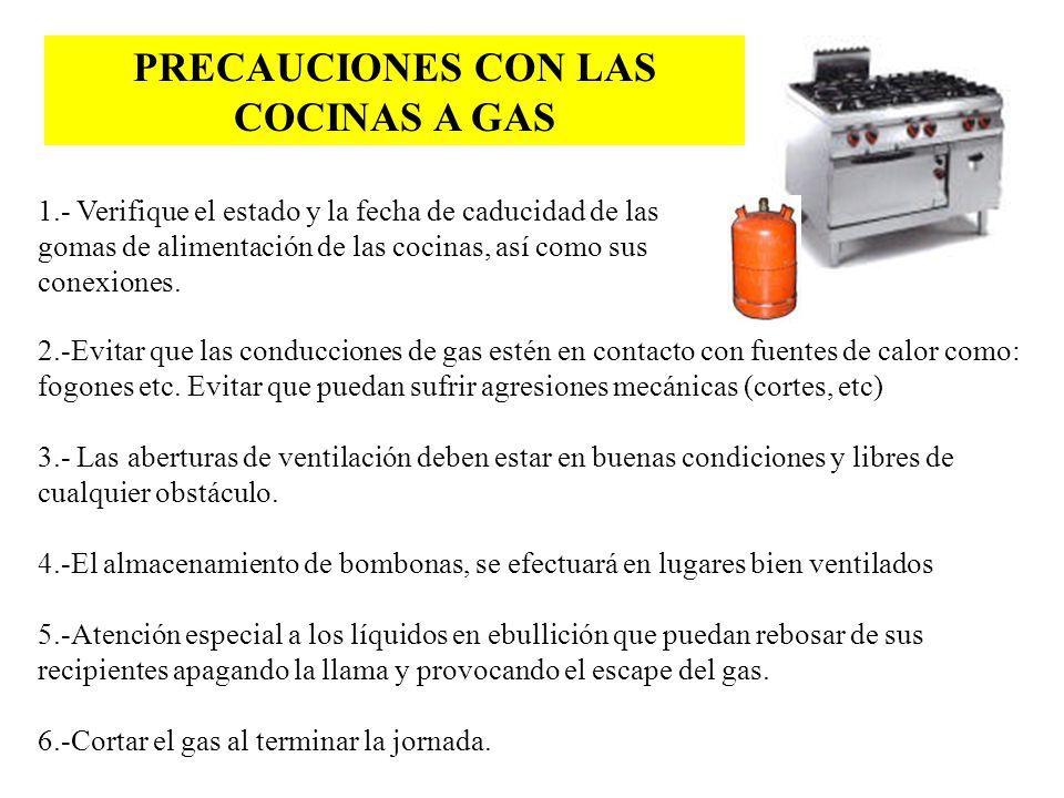 PRECAUCIONES CON LAS COCINAS A GAS 1.- Verifique el estado y la fecha de caducidad de las gomas de alimentación de las cocinas, así como sus conexione