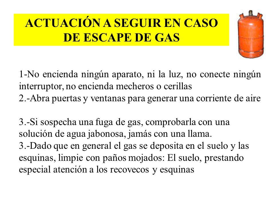ACTUACIÓN A SEGUIR EN CASO DE ESCAPE DE GAS 1-No encienda ningún aparato, ni la luz, no conecte ningún interruptor, no encienda mecheros o cerillas 2.