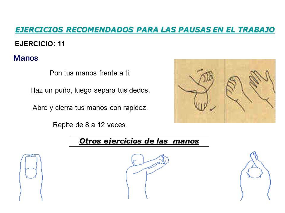 EJERCICIOS RECOMENDADOS PARA LAS PAUSAS EN EL TRABAJO Pon tus manos frente a ti.