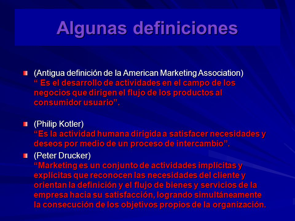 CONCEPCIÓN MODERNA DEL MARKETING * Concepto de Venta * Concepto de Marketing Punto de partida Enfoques Medios Fines Fábrica Mercado Producto Necesidades del cliente Ventas y Promoción Estrategia de MKT Utilidades por volumen de ventas Utilidades mediante la satisfacción del cliente