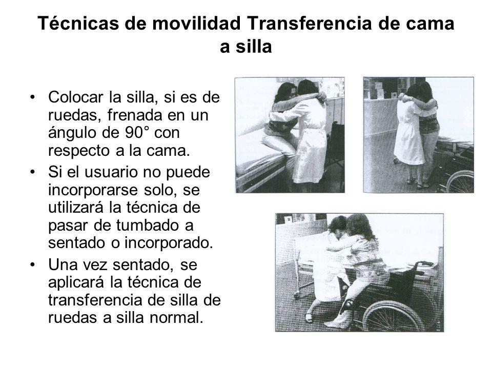 Técnicas de movilidad Transferencia de cama a silla Colocar la silla, si es de ruedas, frenada en un ángulo de 90° con respecto a la cama.
