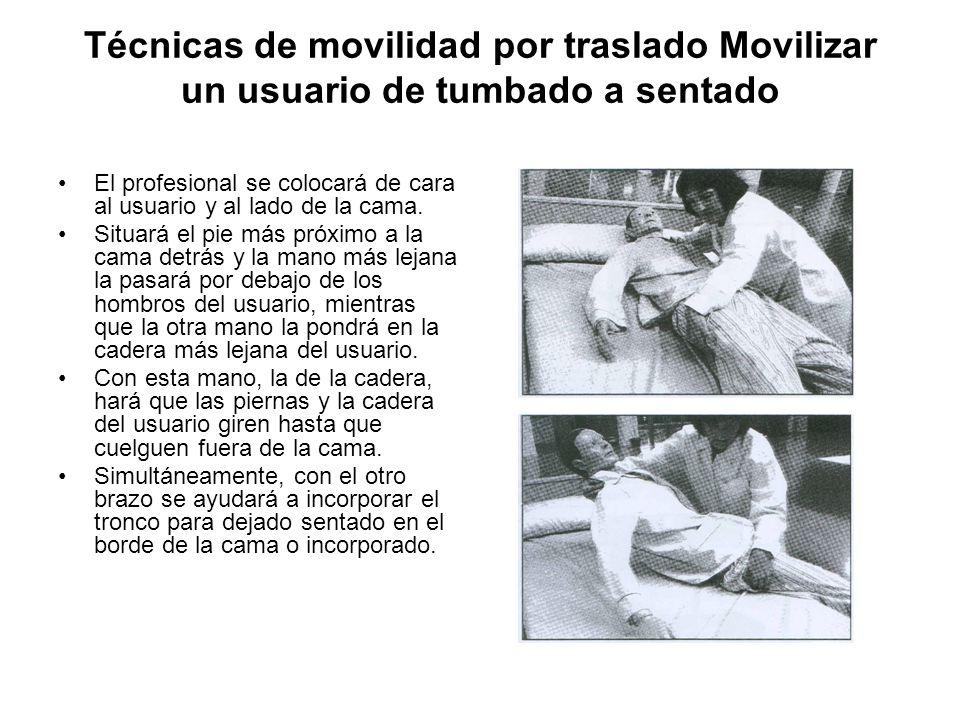 Técnicas de movilidad por traslado Movilizar un usuario de tumbado a sentado El profesional se colocará de cara al usuario y al lado de la cama.
