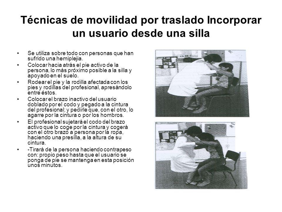 Técnicas de movilidad por traslado Incorporar un usuario desde una silla Se utiliza sobre todo con personas que han sufrido una hemiplejia.