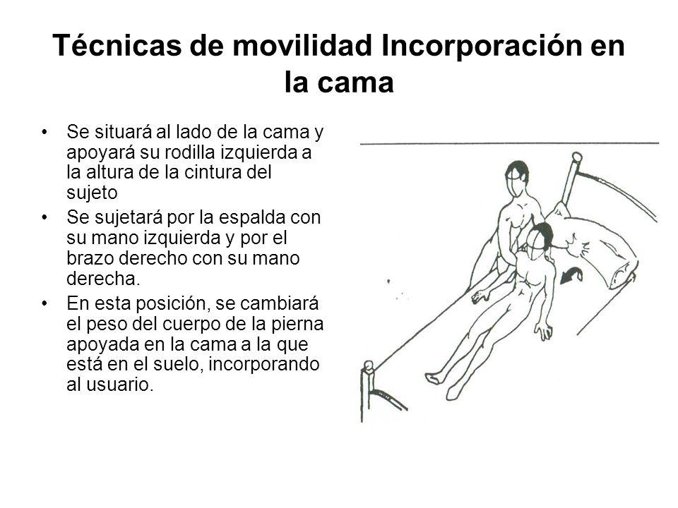 Técnicas de movilidad Incorporación en la cama Se situará al lado de la cama y apoyará su rodilla izquierda a la altura de la cintura del sujeto Se sujetará por la espalda con su mano izquierda y por el brazo derecho con su mano derecha.