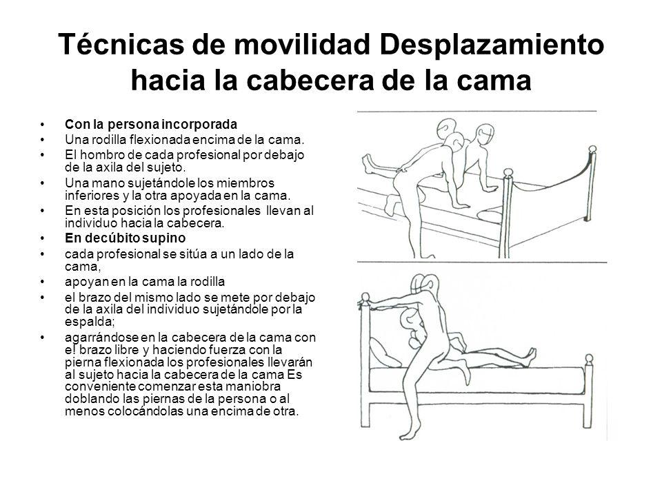 Técnicas de movilidad Enderezamiento de persona encamada Para poner en práctica esta técnica se precisan dos personas: Los dos profesionales se colocaran uno a cada lado de la cama.