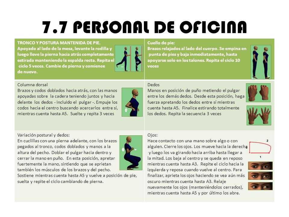 7.7 PERSONAL DE OFICINA TRONCO Y POSTURA MANTENIDA DE PIE.