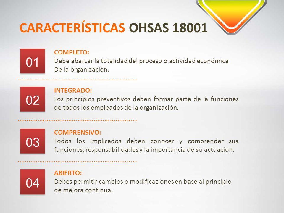 CARACTERÍSTICAS OHSAS 18001 ………………………………………………………… COMPLETO: Debe abarcar la totalidad del proceso o actividad económica De la organización.