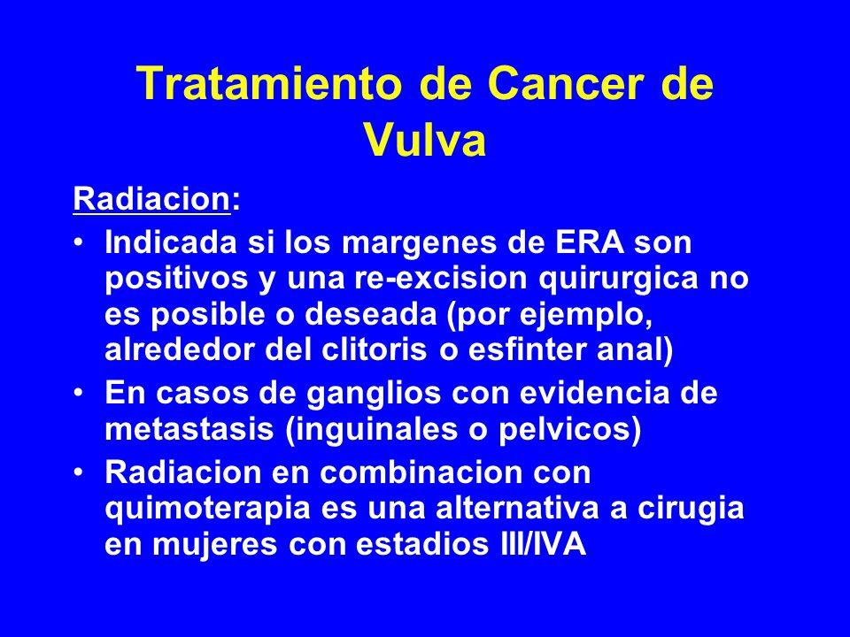 Tratamiento de Cancer de Vulva Radiacion: Indicada si los margenes de ERA son positivos y una re-excision quirurgica no es posible o deseada (por ejem