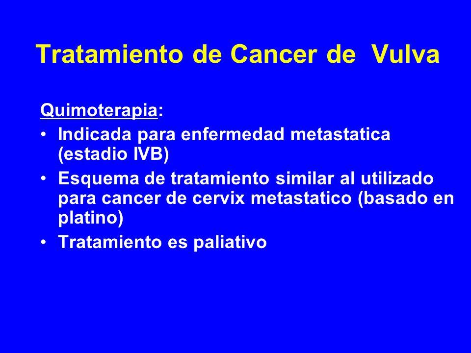 Tratamiento de Cancer de Vulva Quimoterapia: Indicada para enfermedad metastatica (estadio IVB) Esquema de tratamiento similar al utilizado para cance