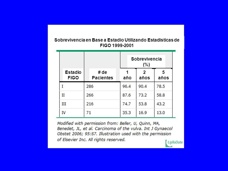 Sobrevivencia en Base a Estadio Utilizando Estadisticas de FIGO 1999-2001 Estadio FIGO # de Pacientes Sobrevivencia (%) 1 aňo 2 aňos 5 aňos