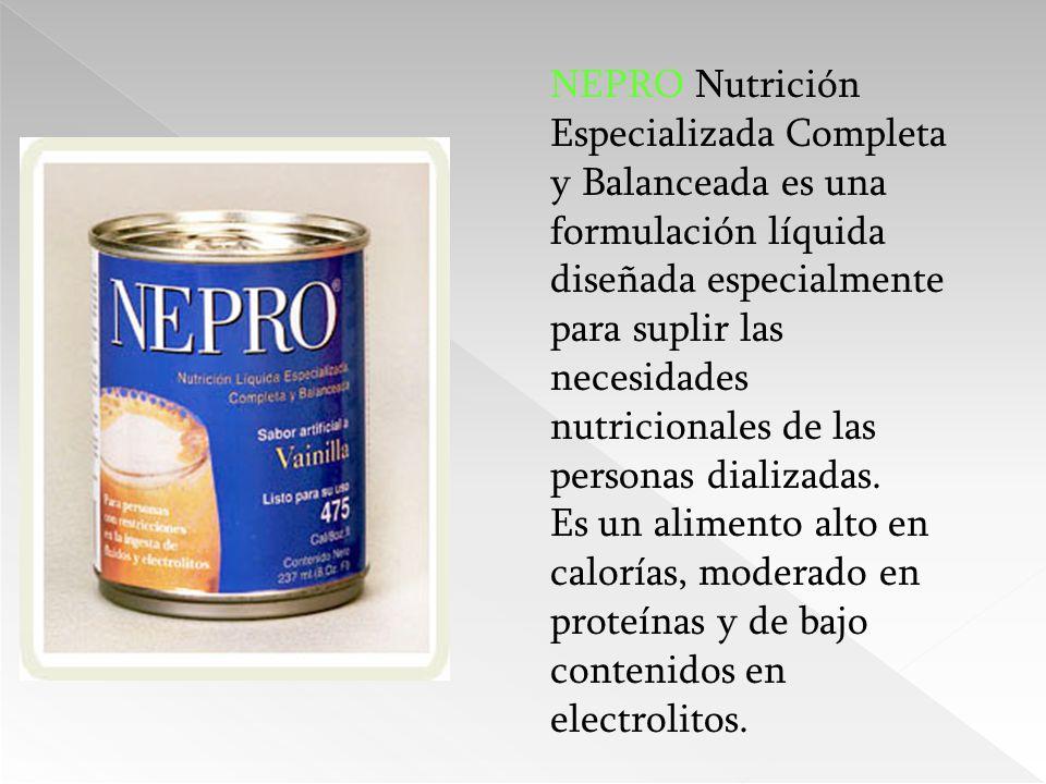 NEPRO Nutrición Especializada Completa y Balanceada es una formulación líquida diseñada especialmente para suplir las necesidades nutricionales de las personas dializadas.