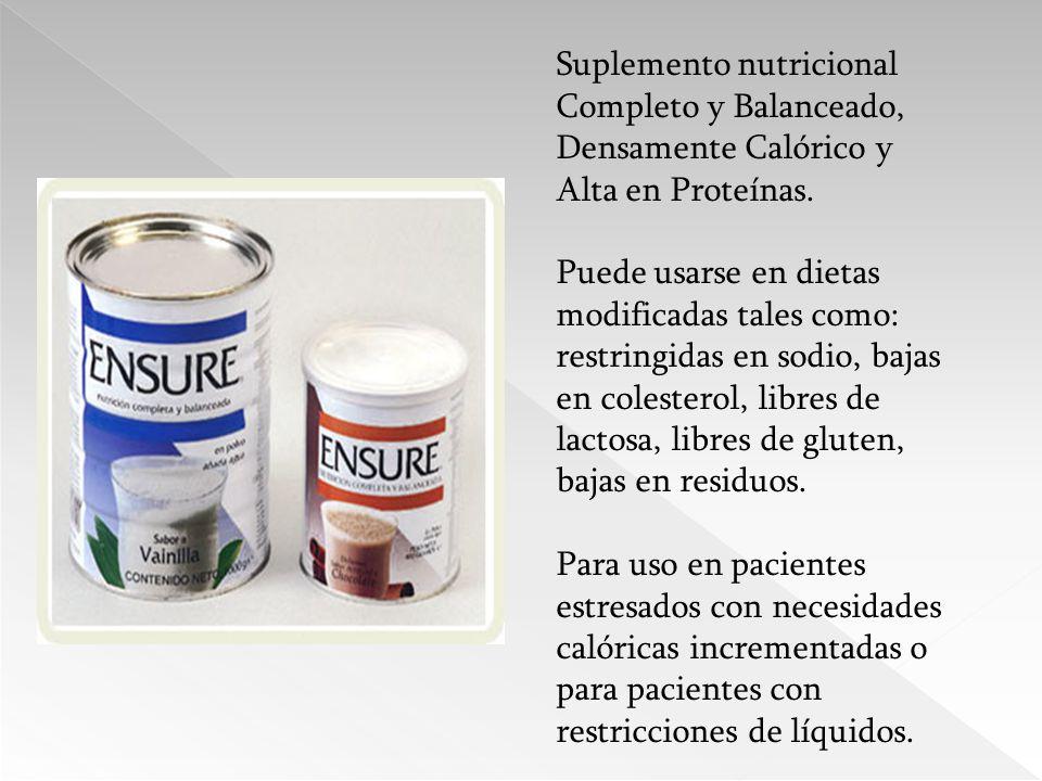 Suplemento nutricional Completo y Balanceado, Densamente Calórico y Alta en Proteínas.