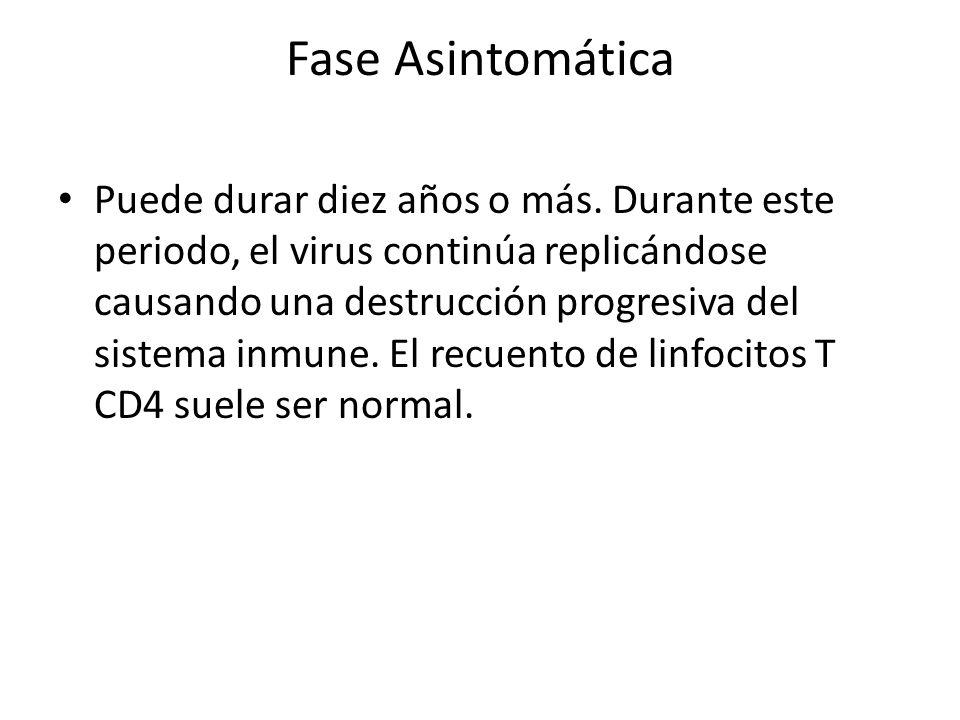 Fase Asintomática Puede durar diez años o más.