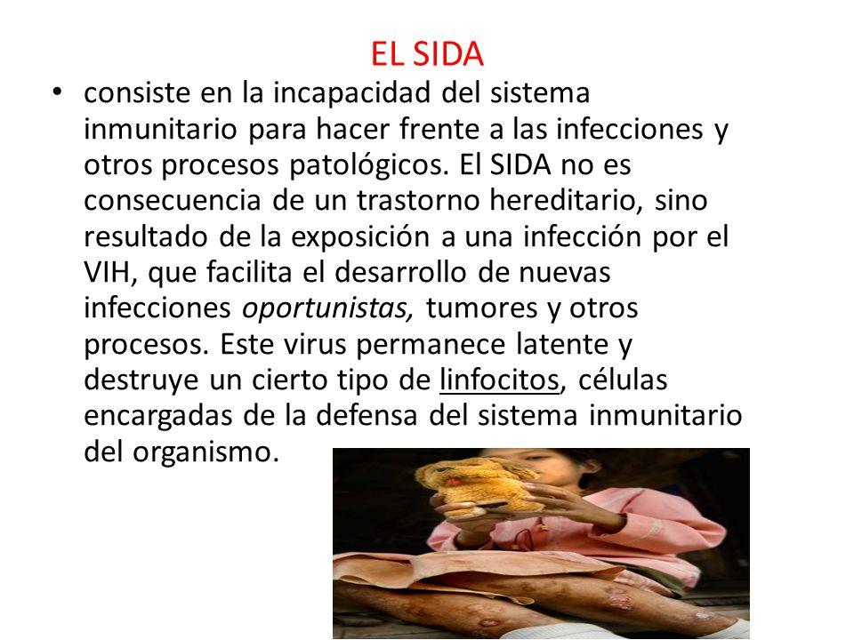 EL SIDA consiste en la incapacidad del sistema inmunitario para hacer frente a las infecciones y otros procesos patológicos.
