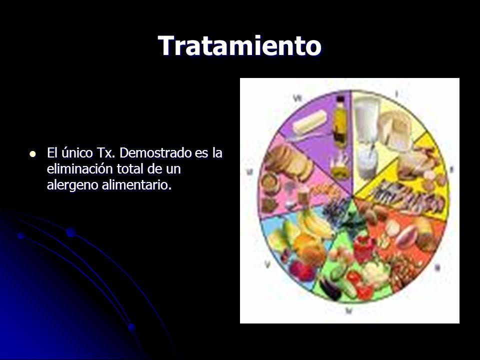 Tratamiento El único Tx.Demostrado es la eliminación total de un alergeno alimentario.